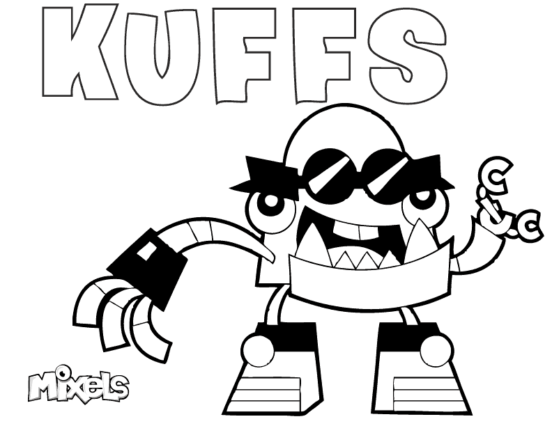 mixels coloring page for kuffs of the mcpd tribe in series 7 pdf kuffs coloring page