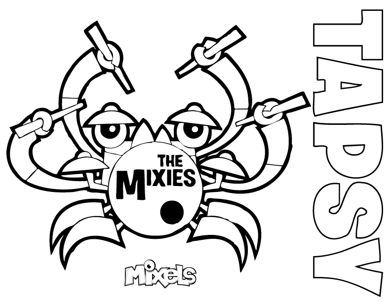 mixels coloring page for tapsy of the mixies tribe in series 7 pdf tapsy coloring page